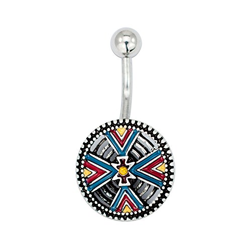 - MoBody 14G Multi Color Tribal Shield Belly Button Rings Set 316L Surgical Steel Curved Navel Barbell