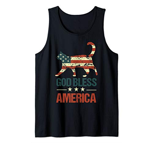 God Bless America Cat American Flag 4th of July Cats USA Tank Top