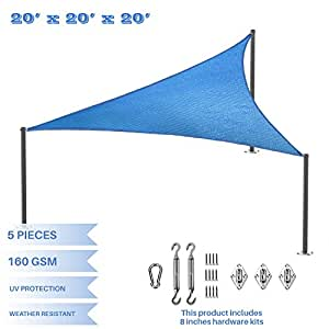E&K Sunrise 20'x20'x20' Blue Equilateral Triangle Sun Shade Sail Outdoor Shade Cloth UV Block Fabric wiht 8 inch Stainless Stell Hardware Kit-Custom Size Available set of 5