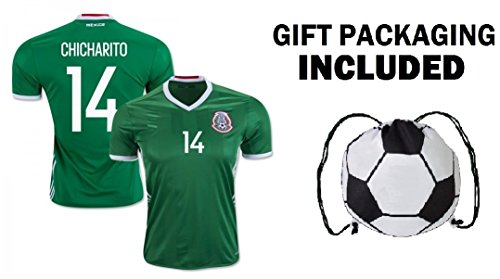 icharito #14 Men's Home / Away Soccer Jersey Adult Premium Gift Kitbag ✮ GIFT PACKAGING Soccer Ball Drawstring Backpack (Large, Home Short Sleeve) (Mexico Soccer Jersey)