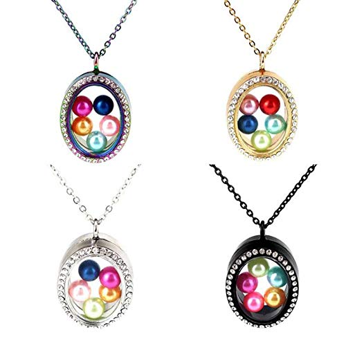 CliPons Living Memory Floating Oval Locket Pendant Necklace Crystal 316L Stainless Steel Gold Plated