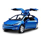 Sen BO Diecast Model Cars Tesla Toy Cars Model X 90 Alloy Pull Back Toy car with Sound & Light Toy Kids Toys 1/32 Scale (Blue)