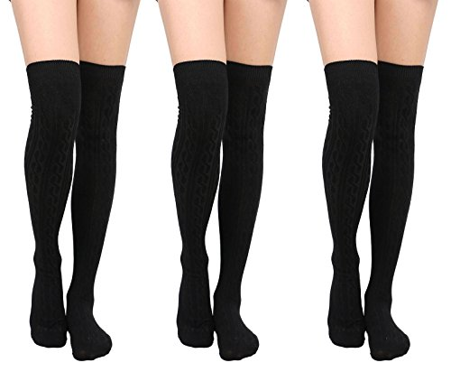 Womens Winter Kabel stricken über Knee High Tigh hohe Socken 1-3 Paar 3 Schwarz + Schwarz + Schwarz
