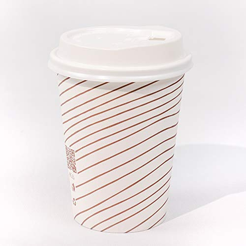 RR-PRODUCTS 100 Count/Pack To Go Disposable Paper Coffee Cups with Lids for Hot Beverage and Cold Drinks (No Sleve Neded) - 12 oz, for Parties, Home, Travels, Office
