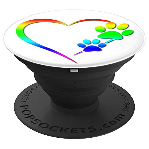 (Cute Dog Paw Print Love Heart Rescue Gift - PopSockets Grip and Stand for Phones and Tablets)