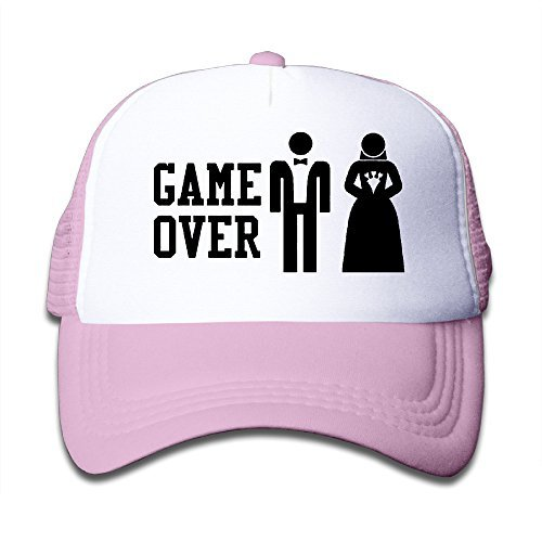 GAME OVER Funny Bachelor Party, Wedding Groomsman Humor Unisex Mesh Hat Trucker Style Outdoor Sports Baseball Cap With Adjustable Snapback Strap For Kid's Pink One Size Baseball Humor Cap