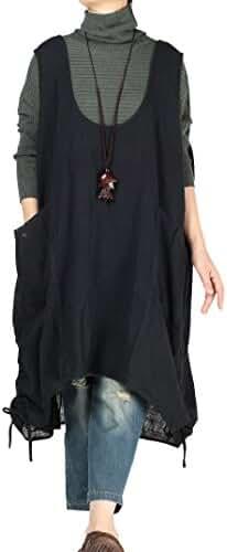 Mordenmiss Women's Summer Vest Dress Pull-Up Hem Top