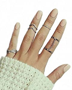 CYimejo Fashion 6pcs Stack Rings Leaf V Rhinestone Joint Rings Knuckle Nail Ring Set …