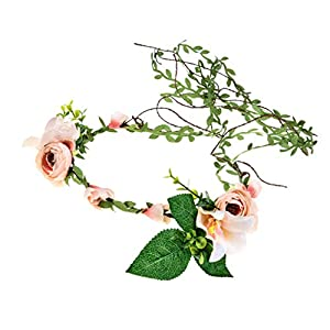 DDazzling Lily Flower Crown Tieback Halo Flower Crown Headband Photo Props (Champagne) 8