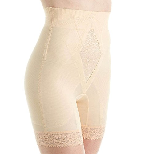 Rago Shapewear - Rago Women's Hi Waist Long Leg Shaper, Beige, Medium (28)