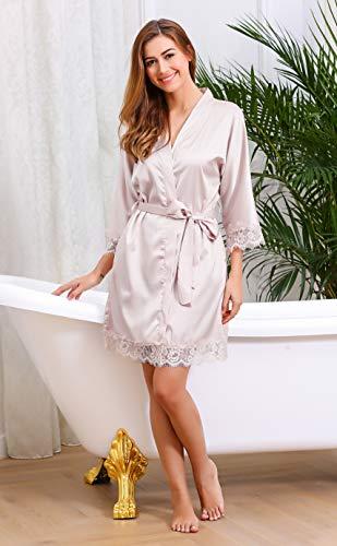 en Vtement Satin Robe Beige Robe de Kimono Femme Ceinture Nuit BeautyUU de Chambre Nuit de Pyjama zAvq5n