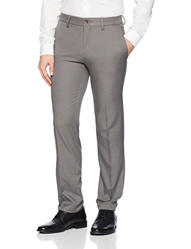 Haggar Men's Cool 18 Pro Slim Fit Flat Front Superflex Waistband Pant, Heather Grey, 33Wx30L