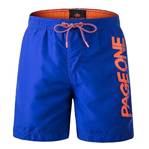 PAGE ONE Mens Women Swim Trunks Quick Dry Beach Wear Drawstring Board Shorts Solid Swim Suit Blue
