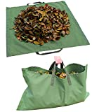 Amatory Leaf Lawn Garden Yard Waste Tarp Clean Up Gardening Trash Bag Clean-up Heavy Duty Military Canvas Fabric Reusable (Tarp-Green)