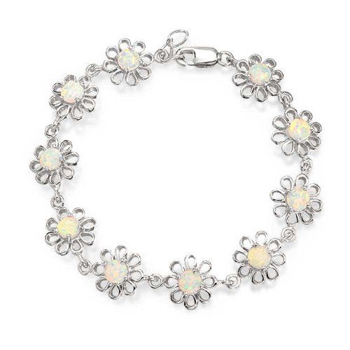 Daisy Flower White Created Opal Link Bracelet For Women For Girlfriend 925 Silver October Birthstone
