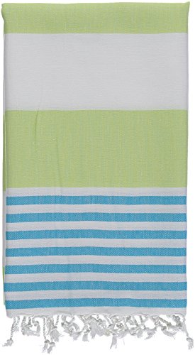 Kuru Towels - Turkish Beach Towels - 100% Cotton Premium Quality Multipurpose Peshtemal for Fast Drying & Easy Storage. Great for Travel, Spa, Pools, Bath and Gym - Cabana Lime and Aqua