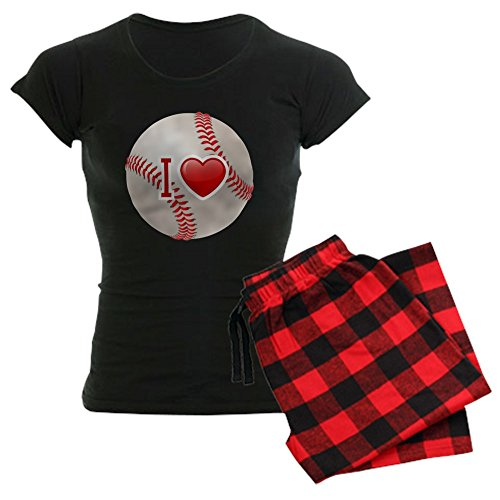 (Royal Lion Women's Dark Pajamas I Love Baseball - Red Plaid, Large)