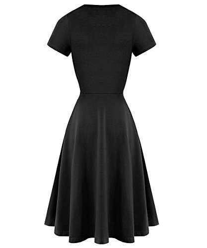 V Line Dress Akivide 2 A Black Dresses Womens Wrap Casual Neck 7EwaqXw