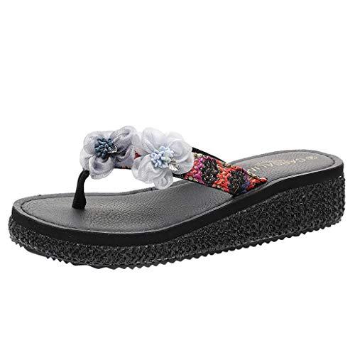 COPPEN Causal Womens Fashion Wedges Flip-Flops Flower Loafer Beach Slipper Shoes Sandal Black ()