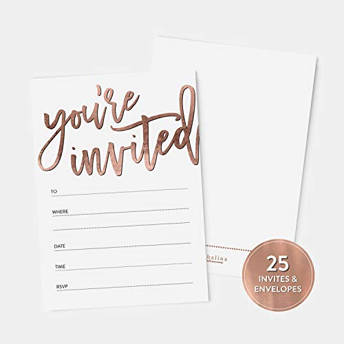 25 Rose Gold You're Invited Fill-In Party Invitations