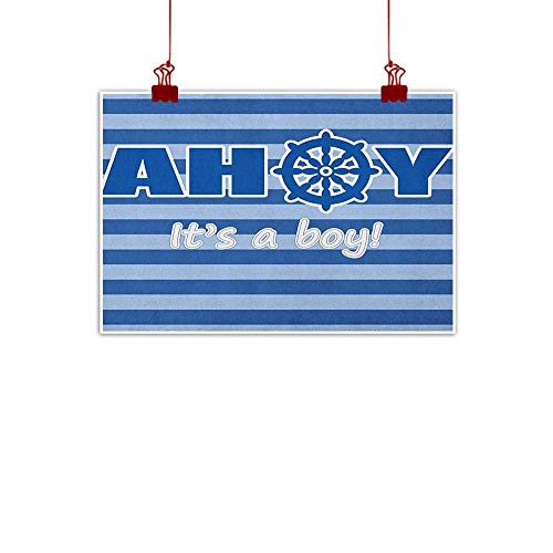 Home Wall Decorations Art Decor Ahoy Its a Boy,Baby Shower New Birth Announcement Marine Wheel Striped Backdrop, Pale Blue Blue White 28
