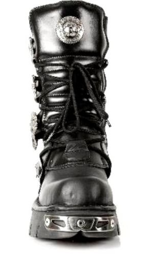 NEWROCK New Rock 391-S1 noir métallisé réacteur motards Goth unisexe Negro bottes