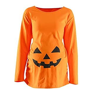 womens maternity funny halloween pumpkin costume pregnancy cute long sleeve pregnant t shirts xl