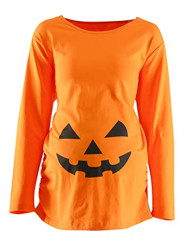 Women's Maternity Funny Halloween Pumpkin Costume Pregnancy Cute Long Sleeve Pregnant T Shirts (XL)