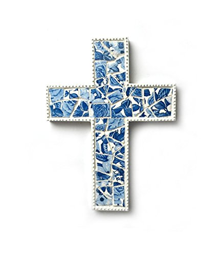 Mosaic Cross, Blue White Mosaic Wall Cross, Blue White Floral Mosaic Cross, Mosaic Cross Wall Hanging, Handmade Cross Art, Shabby Chic Cross (Blue Cross Mosaic)
