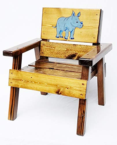 Kids Wood Jungle Safari Chair, Engraved & Painted Blue Rhinoceros, Heirloom Furniture, - Jungle Painted Childrens Chair Hand
