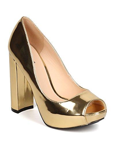 Qupid Women Metallic Leatherette Peep Toe Platform Block Heel Pump FI98 - Gold (Size: 7.5)