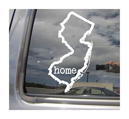 (New Jersey State Home Outline - NJ Trenton Newark The Garden State USA America - Cars Trucks Moped Helmet Hard Hat Auto Automotive Craft Laptop Vinyl Decal Store Window Wall)