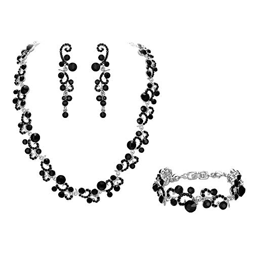 EVER FAITH Women's Crystal Elegant Braidal Flower Wave Necklace Earrings Bracelet Set Black Silver-Tone