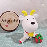 Christmas White deer Polymer Clay - Figurine Christmas Style deer for Home or Office