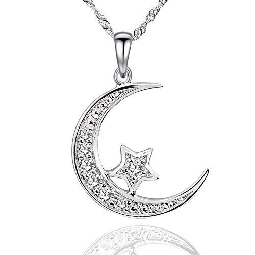 GemsChest Sterling Silver Cubic Zirconia Crescent Moon Star Pendant Necklace 18