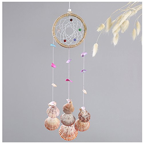 WCHUANG Seashell Bell Boho Dream Catcher with Feathers Indian Wall Hanging Home Decor Ornament