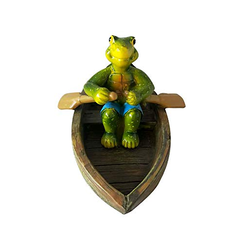 (CYA-DECOR Frog Garden Statue - Hand-Painted Boating Frog Sculptures and Decoration,Resin Floating Frog fit for Lawn Ornaments and Pond Garden Decor)