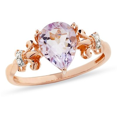 10K Rose Gold Pink Amethyst Diamond Pear Ring (.02cttw, I-J, I2-I3) Size 6