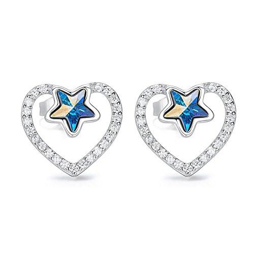CDE Women's Stud Earrings, Graduation Gifts Sterling Silver Studs Crystal Jewelry Earring (Star)