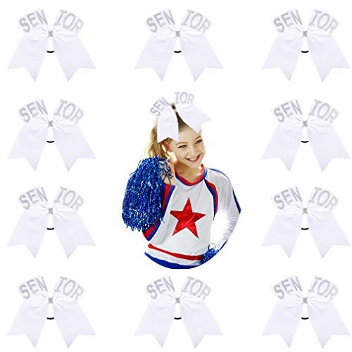DEEKA Glitter Senior Cheer Hair Bows 10PCS for Girls Cheerleader - White (Best Cheap Bows 2019)