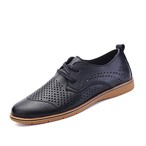 Dress Hollow Leather Lace out Black Casual Toe Up Round Shoes XiaoYouYu Men's Oxfords BwfxqPwA5