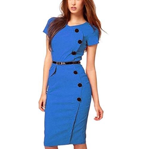 Qangareee Boutton Bleu Femme Manches avec Courte Vintage Ceinture Robe PxvHpqP