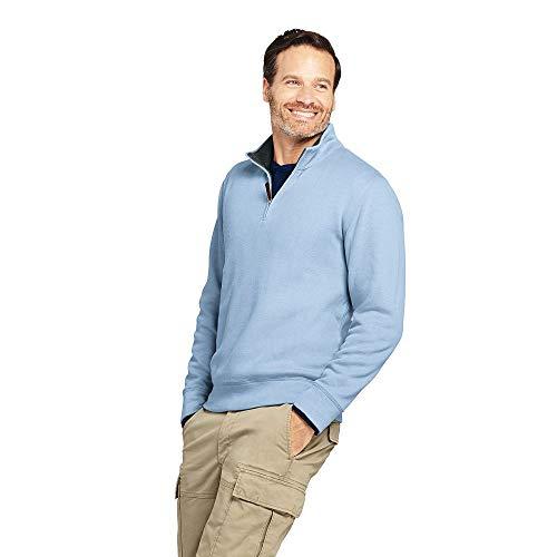 Lands' End Men's Bedford Rib Quarter Zip Sweater, L, Gossame