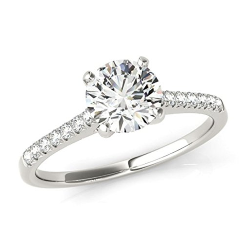 Tdw Prong Set - Pave Set Diamond Engagement Ring 14k White Gold 1/2ct. TDW