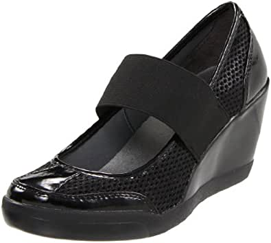 DKNY Women's Dean Wedge Mary Jane,Black,6.5 M US