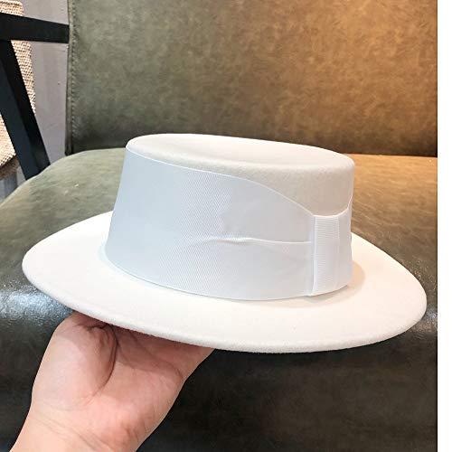 VAXT Mastermind Wool White Women Top Hat Fedora Hat Hat Bowler Hat Tea Party Hat