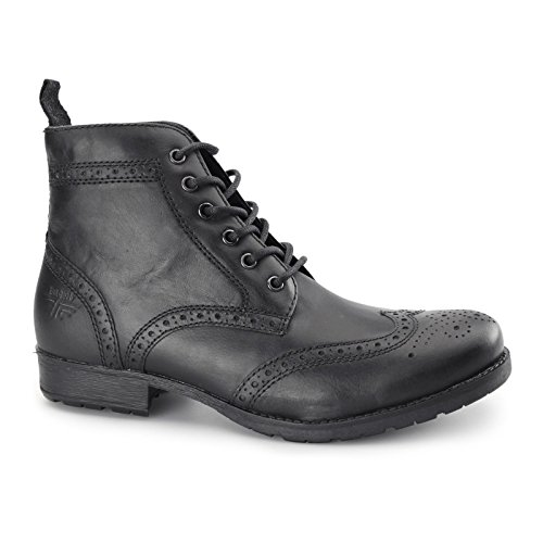 rojo cinta Butley hombre en Negro Zapatos Oxford de piel Botas Con Cordones
