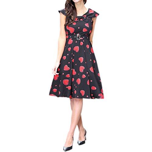 Honghu Vestido Sin Mangas De Las Mujeres De Cintura por la rodilla Vestido De Impresión Verano De Ceremonia Rojo