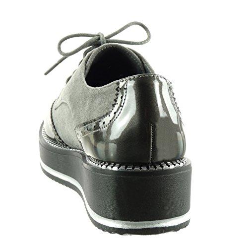 de Zapato Mujer Zapatillas Moda Zapatillas Plataforma Cremallera Perforado Derby Tal de Bimaterial Angkorly Patentes tU5wgqp4