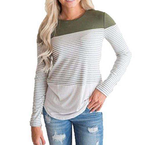 [S-XL] レディース Tシャツ ラウンドネック ストライプ ステッチング 長袖 トップス おしゃれ ゆったり カジュアル 人気 高品質 快適 薄手 ホット製品 通勤 通学